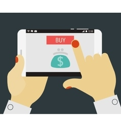 Hand pressing buy button on mobile device vector