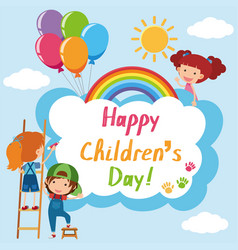 happy childrens day poster with kids in sky vector image