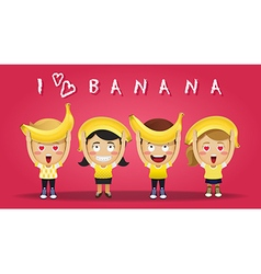 Happy people carrying big ripe bananas vector