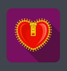 heart zipper concept background cartoon style vector image