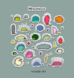 hedgehogs sticker set for your design vector image vector image