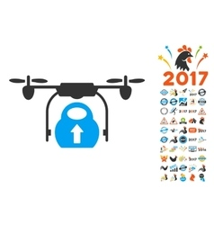 Load Cargo Drone Icon With 2017 Year Bonus Symbols vector image vector image