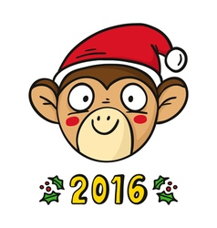 Monkey in santas hat chinese new year 2016 symbol vector