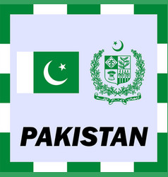 official ensigns flag and coat of arm of pakistan vector image vector image