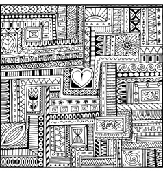 Ornamental ethnic black and white pattern with vector image vector image