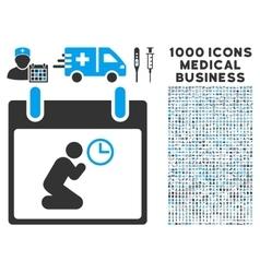 Pray time calendar day icon with 1000 medical vector