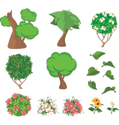 Set of Garden Plants with Flowers for you Design vector image vector image