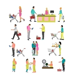 set of people buying food in grocery store vector image vector image
