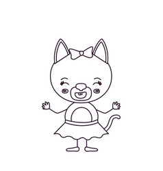 Sketch silhouette caricature of cute female cat in vector