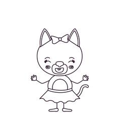 Sketch silhouette caricature of cute female cat in vector