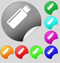 Usb sign icon flash drive stick symbol set of vector