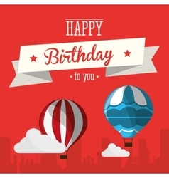Vintage card happy birthday airballoons clouds vector