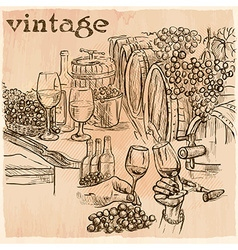 Vintage wine cellar an hand drawn picture line art vector