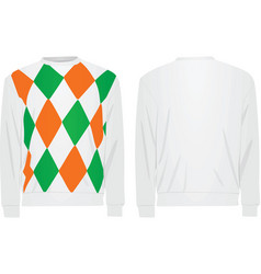 white sweater with argyle pattern vector image vector image