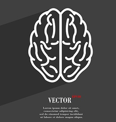 Brain symbol flat modern web design with long vector