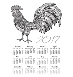 Calendar 2017 chinese new year with ornate fiery vector