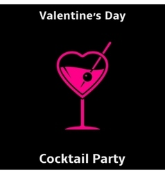 Valentines day cocktail party poster vector
