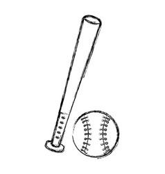 Baseball bat and ball equipment isolated icon vector