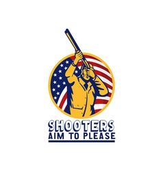 American hunter aiming shotgun rifle flag vector image