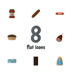 Flat icon food set of tart meat smoked sausage vector