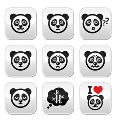 Panda bear buttons set - happy sad angry isolate vector