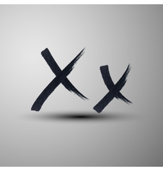 calligraphic hand-drawn marker or ink letter X vector image
