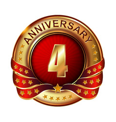 4 anniversary golden label with ribbon vector image vector image