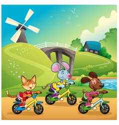 Pets are going for a ride in the countryside vector