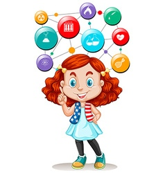Girl and science symbols on buttons vector