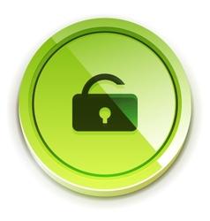 Glossy bright unlock button vector