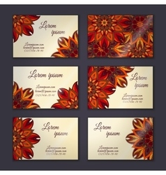 Business card collection delicate floral mandala vector