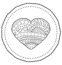 Adult coloring book page heart shaped vector