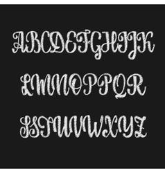 Alphabet Calligraphic font chalk effect vector image