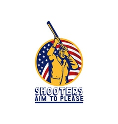 American hunter aiming shotgun rifle flag vector image