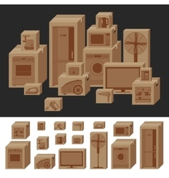 Boxes with household appliances vector