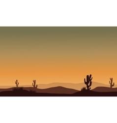 Cactus in desert silhouette vector