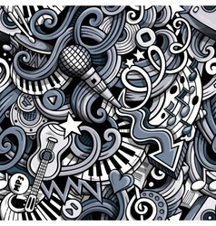 Cartoon hand drawn doodles Music seamless pattern vector image