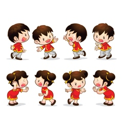 chinese boy girl actions vector image vector image