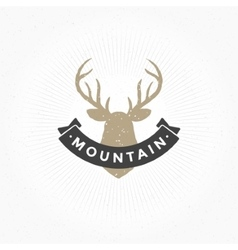 Deer head hand drawn design element in vintage vector