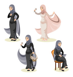 diverse set of arab woman vector image vector image