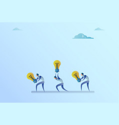 Group of business people carry light bulbs new vector