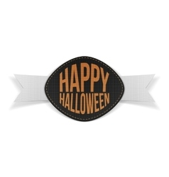 Happy Halloween realistic Emblem with Ribbon vector image vector image
