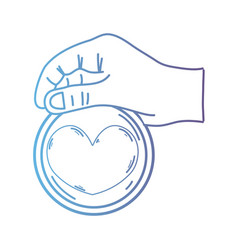 line hand with heart emblem to love and romantic vector image vector image