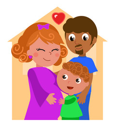 mixed races family vector image vector image