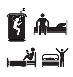 Person in bed icons Hotel sleep signs vector image