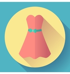 Red dress - classic fashion Icon in the flat vector image vector image