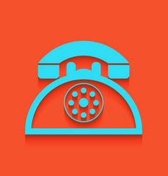 Retro telephone sign whitish icon on vector