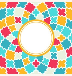 Round frame with multicolor quatrefoil pattern vector