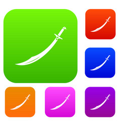 Scimitar sword set color collection vector