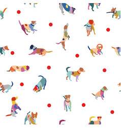 seamless pattern with colorful terrier dogs vector image vector image